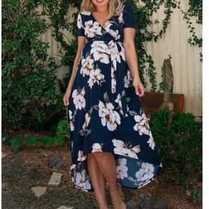 Pink blush navy floral hi-low maternity dress NWT.